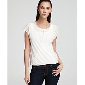 Theory Ivory White Diona Short Sleeve Wrap Top